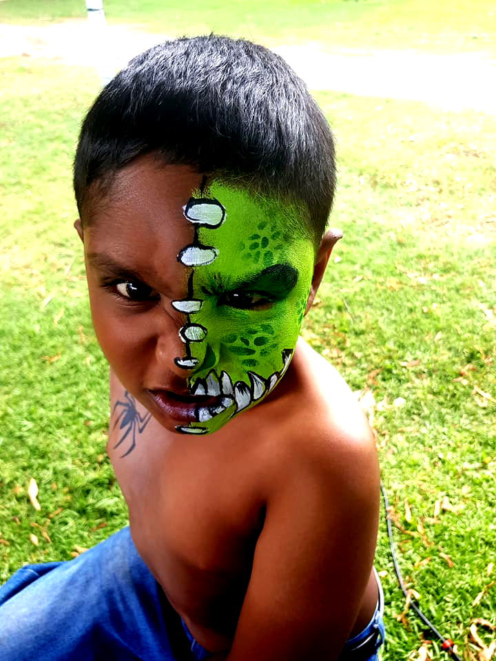 Green Monster Boys Face Paint Design