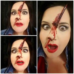 Pencil Through Nose Halloween Makeup