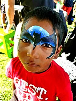 Blue Batman Face Paint Design