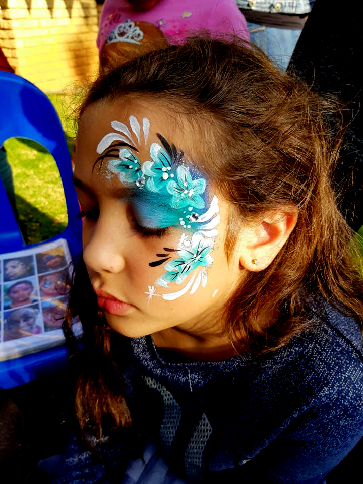 Blue Flower Cheek Girls Face Paint