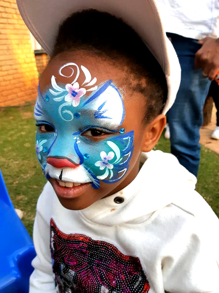 Blue Cat Girl Face Paint