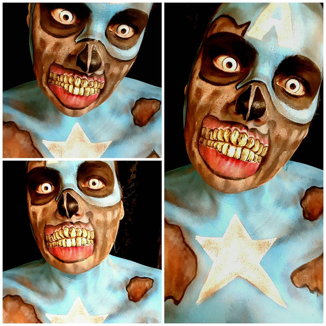 Zombie Captain America Face Paint
