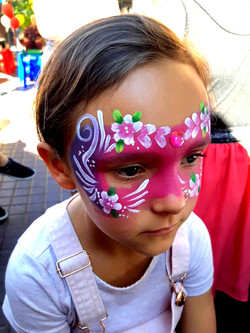 Pink and Purple Girls Face Paint