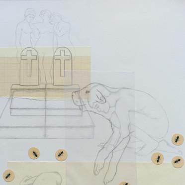 Paisaje con dos tumbas y un perro asirio