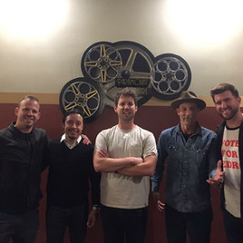 Jeremy Ostermiller with the cast of Napolean Dynamite