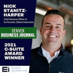 Nick Stanitz-Harper is a recipient of the Denver Business Journal 2021 C-Suite Award