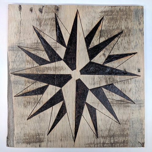 Star pattern on reclaimed wood