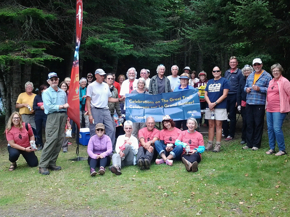 Group photo of hikers along the Animikii Trail on August 26th, Grand Opening Day!. Photo: POPA