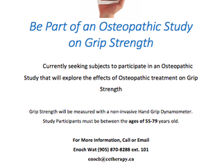 55-79? Be part of an Osteopathic Study on Grip Strength