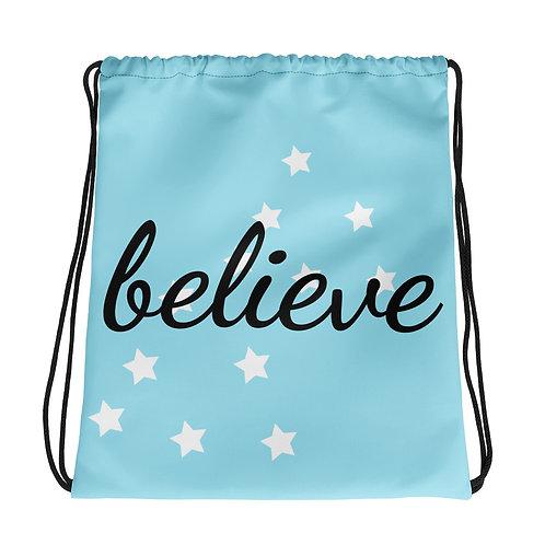 Blue Believe Drawstring bag