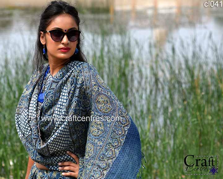 ajrakh hand block print linen saree