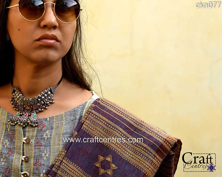natural indigo and lakh dyes kala cotton saree