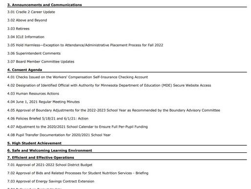 6/15/2021 School Board Meeting Preview