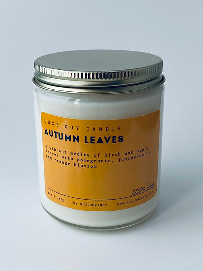 Autumn Leaves Glass Candle