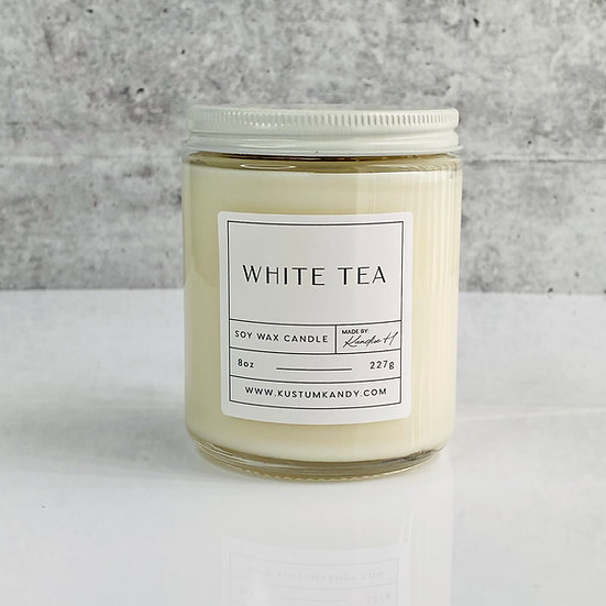 White Tea Glass Candle