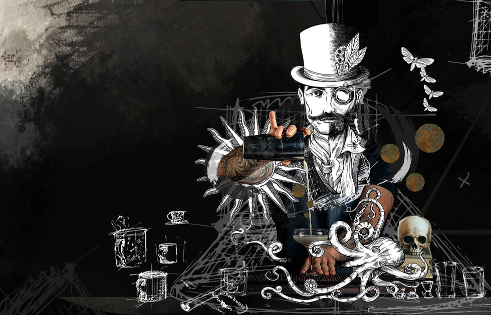 The Dark Smith pouring a cocktail