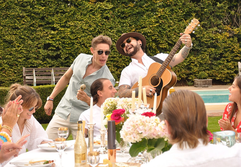 I Ragazzi performing live latin music outdoors at a garden party