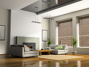 Home interior with new fitted blinds and shutters