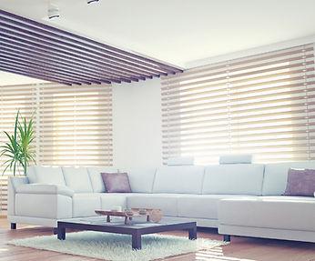New roller blinds in a modern living room