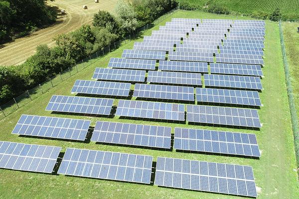 Solar panel plant on a sunny day
