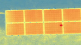 Thermal imaging of PV panels showing hotspot