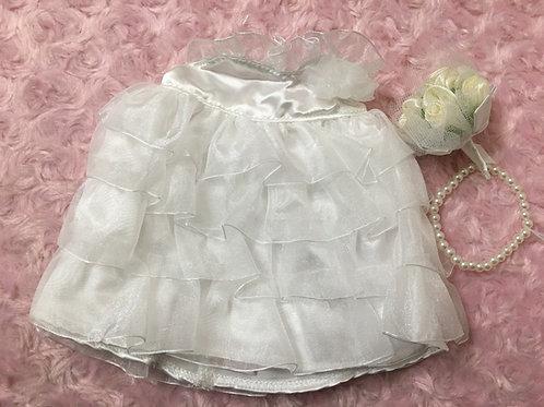 ぬいぐるみドレスMサイズ(プリンセスフリルレースタイプ)+パールネックレス+ブーケ付き