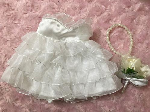 ぬいぐるみドレスSサイズ(プリンセスフリルレースタイプ)+パールネックレス+ブーケ付き