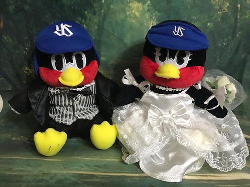 【東京ヤクルトスワローズ】座高20cmのつば九郎おすわりSとつばみおすわりSぬいぐるみをウェルカムドールにするためのタキシードとドレスセット