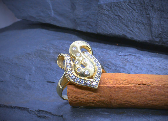 Damenring 585er Gold mit weißen Steinen, Gr. 56