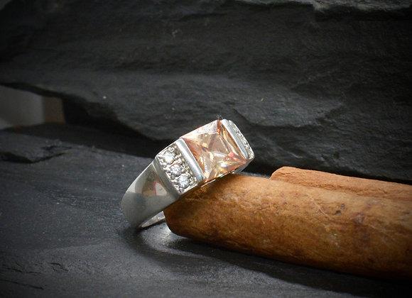 Damenring 925er Silber rhodiniert mit Zirkonia-Besatz, Gr. 57