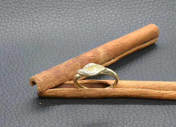 Ring 585er Gold mit Diamantsplittern, Gr. 57