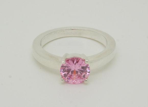 Solitär Damenring 925er Silber mit pinkfarbenem Zirkonia-Brillant, Gr. 54