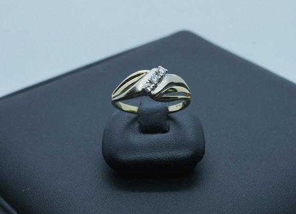 Bicolor Damenring 585er Gold mit Diamantbesatz ca. 0,12 Kt., Gr. 53