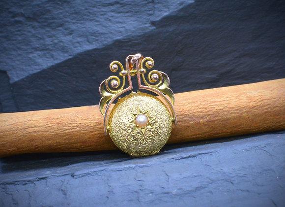 Biedermeier-Medaillon 750er Gold mit Saatperle