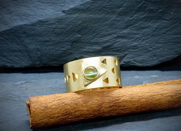 Bandring 585er Gold (Satiniert) mit Mondstein-Cabochon, Gr. 61