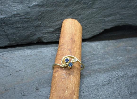 Damenring 585er Gelbgold mit Saphiren & Diamant, Gr. 56