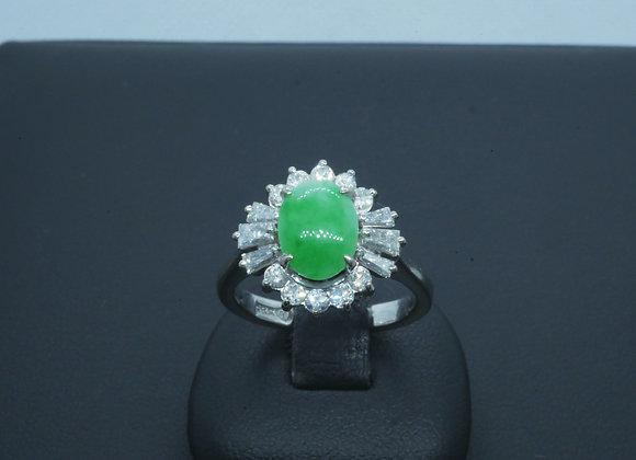 Halo-Ring 585er Weißgold mit Chrysopras-Cabochon & Diamantbesatz, Gr. 49