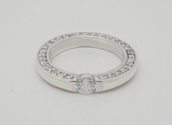 """Damenring """"Side-Effekt"""" 925er Silber mit seitlich eingefassten Zirkonia, Gr. 54"""