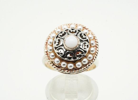 Damenring 925er Silber, teilvergoldet mit Imitationsperlen, größenverstellbar