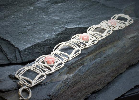 Armband 925er Silber mit Rhodochrosit 19,5cm