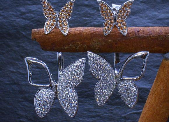 Ohrhänger Schmetterling 925er Silber Zirkonia-Besatz