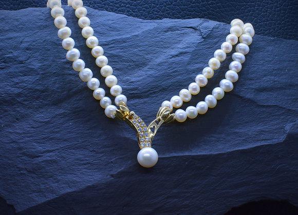 Zweireihiges Perlencollier 585er Goldverschluß mit Zirkonia-Besatz, 40 cm
