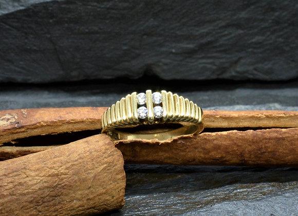 Damenring 585er Gold mit Diamantbesatz ca. 0,2 Kt., Gr. 55