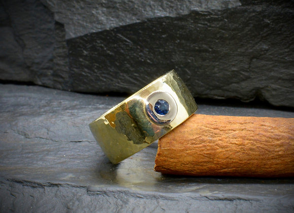 Bicolor-Bandring 585er Gold mit Saphir, Gr. 59