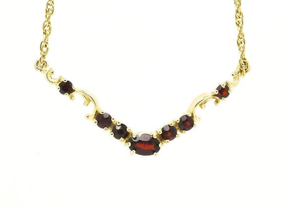 Granat-Collier 333er Gold, 44 cm