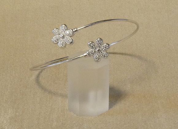 Armspange Blumen 925er Silber mit Zirkonia-Besatz