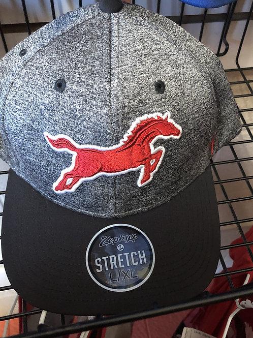 Grey Flat Bill Mustangs Hat