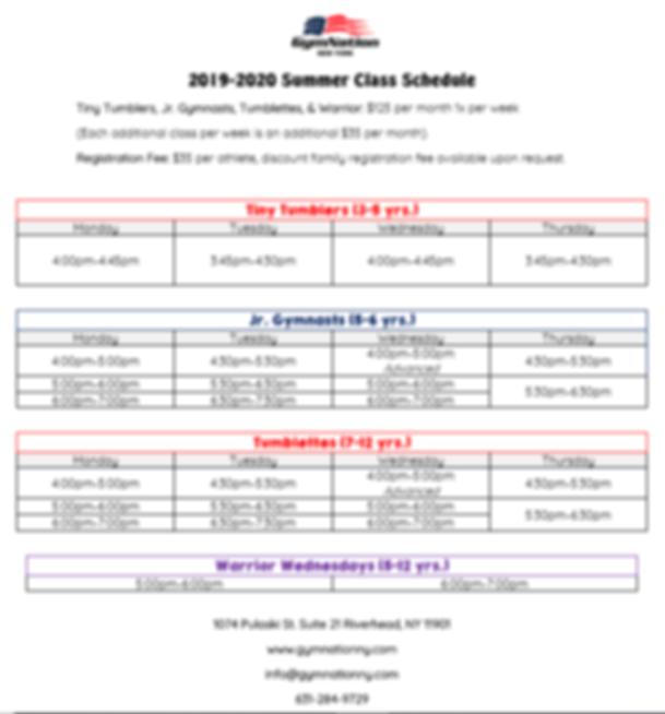 2019-2020 GymNation Summer Class Schedul