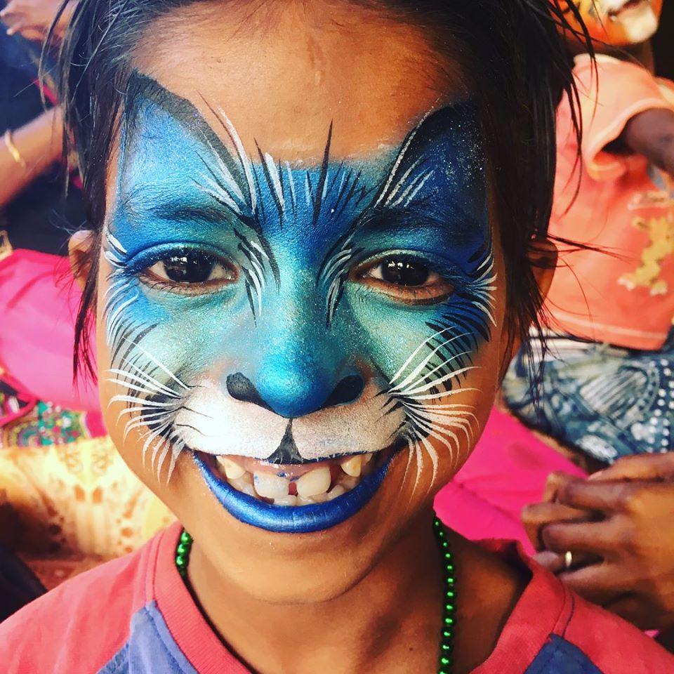 Blue cat face paint