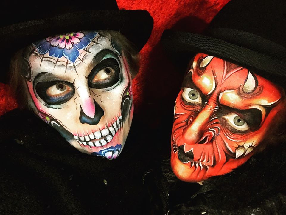 Sugar skull and devil face paint